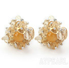 Wholesale New Design Fashion Style Citrine Chips Clip Earrings