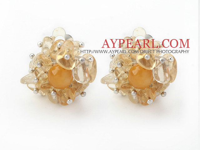 New Design Fashion Style Citrine Chips Clip Earrings
