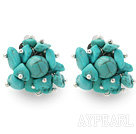 Wholesale New Design Fashion Style Assorted Turquoise Chips Clip Earrings