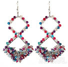 Nouveau design Rhombus Shape assorties multi boucles d'agate de couleur