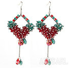 Wholesale Assorted Rhombus Shape Red and Green Crystal Dangle Earrings
