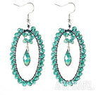 New Design Oval Shape Lake Green Crystal Big Loop Earrings