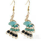Wholesale Fashion Style Imitation Gold Peacock Earrings with Crystal