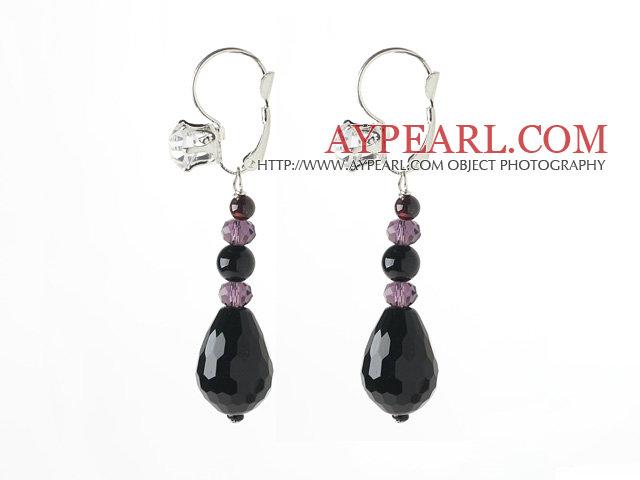 New Design Black Series Drop Black Agate and Garnet Earrings with Rhinestone Level Back Earrings