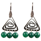 Wholesale Popular Fashion Natural Green Agate Earrings With Triangular Accessory