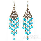 Wholesale Vintage Style Triangle Shape Accessory and Round Lake Blue Shell Beads Long Earrings