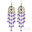 Wholesale Vintage Style Round Shape Accessory and Round Purple Shell Beads Long Earrings