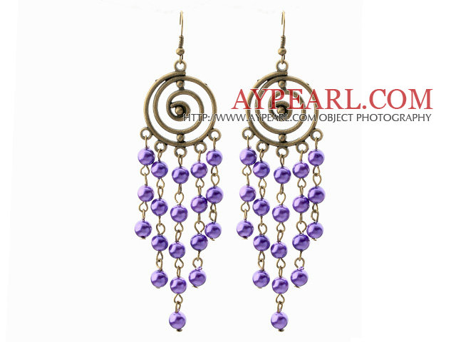 Vintage Style Round Shape Accessory and Round Purple Shell Beads Long Earrings