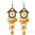 Vintage Style House Shape Accessory and Flat Round Yellow Shell Long Earrings