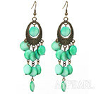Wholesale Vintage Style Oval Shape Accessory and Flat Round Green Shell Long Earrings