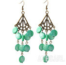 Vintage Style Triangle Shape Accessory and Flat Round Green Shell Long Earrings