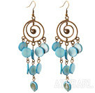 Wholesale Vintage Style Round Shape Accessory and Flat Round Blue Shell Long Earrings