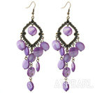 Vintage Style Rhombus Shape Accessory and Flat Round Purple Shell Long Earrings