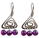 Wholesale Popular Fashion Natural Purple Agate Earrings With Triangular Accessory
