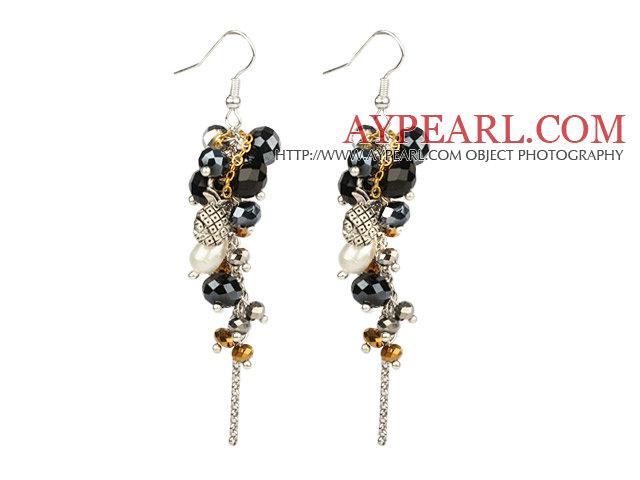 Black Series Black Crystal and White Freshwater Pearl Dangle Earrings