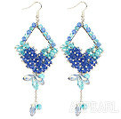 Wholesale Cool Blue Series Assorted Blue Crystal Dangle Earrings