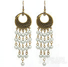 Vintage Style Gray Color Round Seashell Dangle Earrings