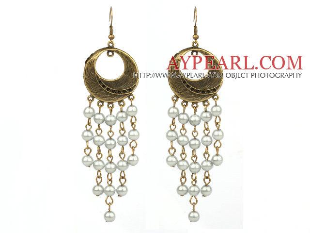 Vintage Style Gray Color Round Seashell Dangle Earrings