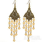 Wholesale Vintage Style Golden Color Seashell Beads Long Earrings