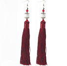 Wholesale China Style Dark Red Series Red Coral and White Porcelain Stone and Dark Red Thread Long Tassel Earrings