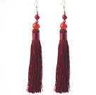 Wholesale China Style Dark Red Series Carnelian and Alaqueca and Dark Red Thread Long Tassel Earrings