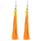 China Style Yellow Series Yellow Cats Eye and Yellow Color Thread Long Tassel Earrings