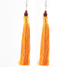 China Style Carnelian and Red Sandalwood Lotus and Orange Yellow Color Thread Long Tassel Earrings