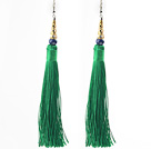 Wholesale China Style Dark Green Series Lapis and Green Thread Long Tassel Earrings