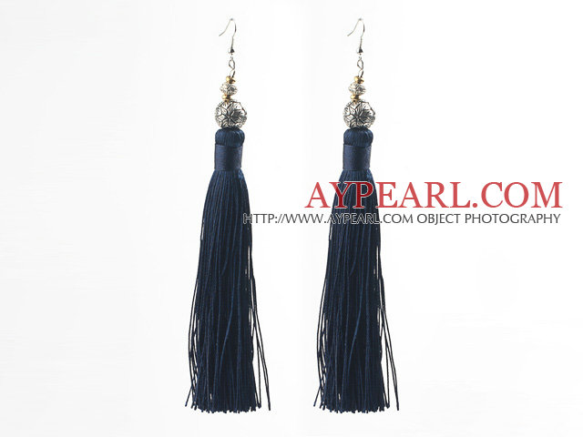 China Style Black Blue Series Tibet Silver Ball and Dark Blue Thread Long Tassel Earrings