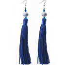 Wholesale China Style Dark Blue Series Blue Agate and Blue White Porcelain and Thread Long Tassel Earrings