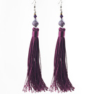China Style Dark Purple Series Amethyst and Dark Purple Thread Long Tassel Earrings