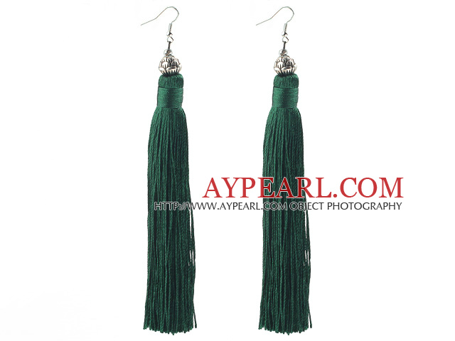 China Style Dark Green Series Tibet Silver Lotus and Green Thread Long Tassel Earrings