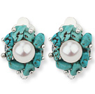Wholesale 2013 Summer New Design White Freshwater Pearl and Turquoise Chips Clip Earrings