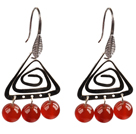 Wholesale Popular Fashion Natural Red Agate Earrings With Triangular Accessory