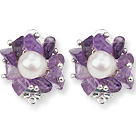 2013 Summer New Design White Freshwater Pearl and Amethyst Chips Clip Earrings