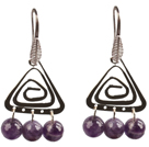 Wholesale Popular Fashion Natural Faceted Amethyst Earrings With Triangular Accessory