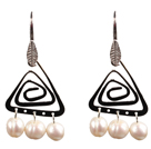 Popular Fashion Natural White Freshwater Pearl Earrings With Triangular Accessory