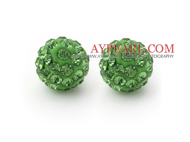 Fashion Style Apple Green 10mm Round Rhinestone Ball Studs Earrings