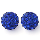 Fashion Style Sapphire Color 10mm Round Rhinestone Ball Studs Earrings