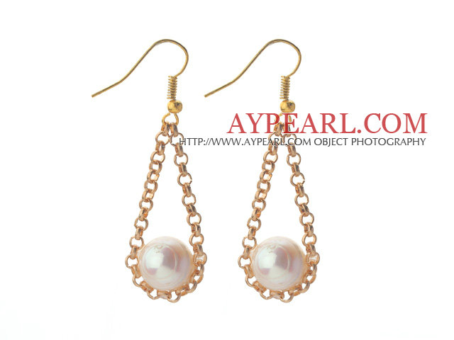 2013 Summer New Design Triangle Shape 10-11mm Round White Freshwater Pearl Earrings