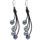 Fashion Style Gray Freshwater Pearl Leather Dangle Earrings with Black Leather