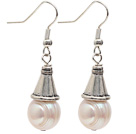 Classic Design 10-11mm Natural White Freshwater Pearl Earrings with Fish Hook