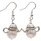 Wholesale Classic Design 10-11mm Natural White Freshwater Pearl Charm Earrings with Fish Hook
