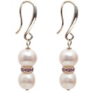 Wholesale Dangle Style 9-10mm Natural White Freshwater Pearl Earrings with Rhinestone Spacer