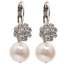 Fashion Style Natural White Freshwater Pearl Level Back Earrings with Rhinestone