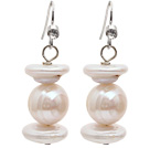 Wholesale Natural White Freshwater Pearl and Rebirth Pearl Dangle Earrings