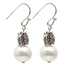 Simple Style 9-10mm Natural White Freshwater Pearl Earrings with Fish Hook