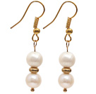 Wholesale Fashion Style 7-8mm Natural White Freshwater Pearl Beaded Earrings with Yellow Color Fish Hook