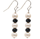 Simple Style Natural White Freshwater Pearl and Black Crystal Dangle Earrings