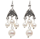 Fashion Style Natural White Freshwater Pearl Chandelier Earrings